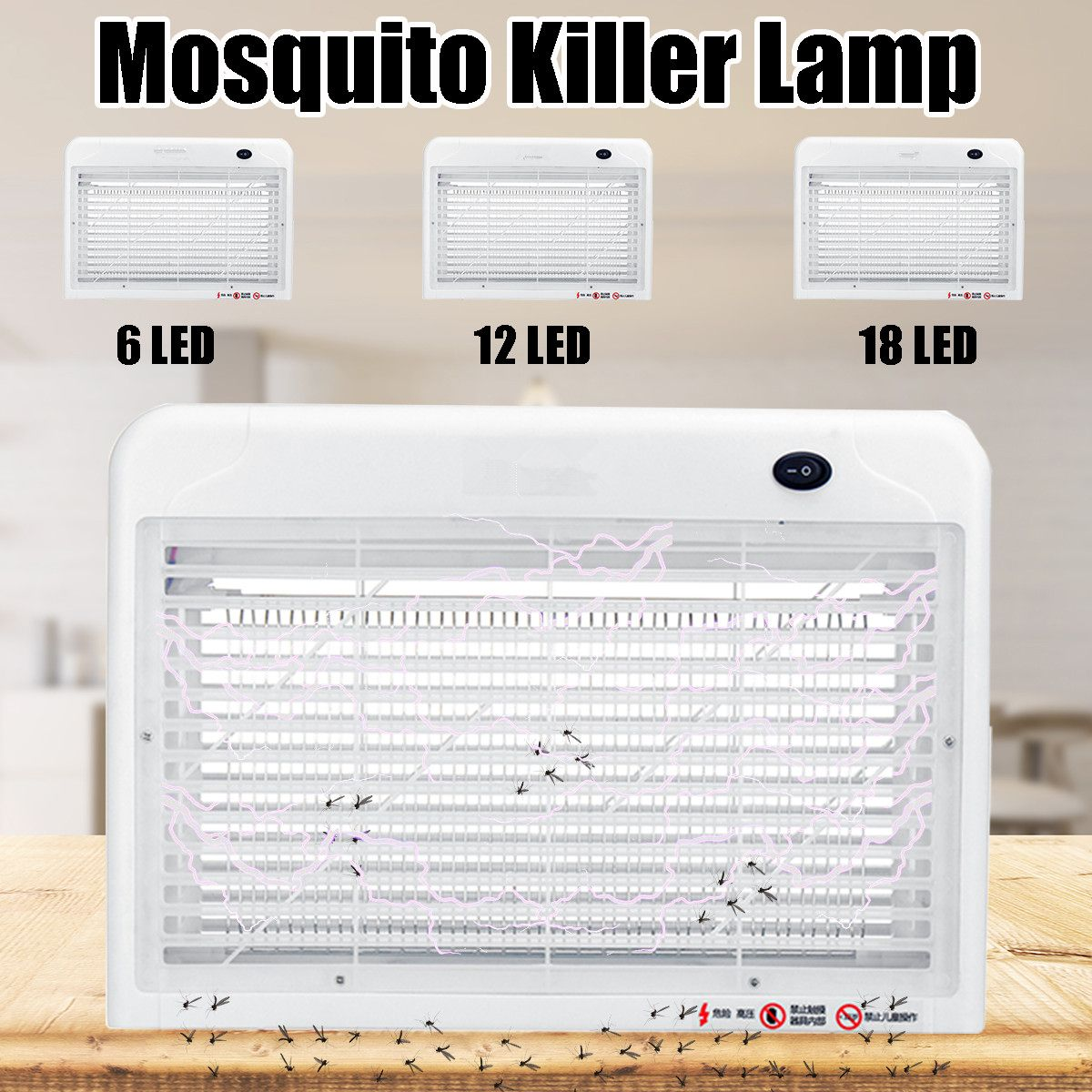 220V Mosquito Killer Lamp 6/12/18W Electric Fly Bug Zapper Mosquito Insect Killer Space Saving Pest Control LED Light Trap Lamps