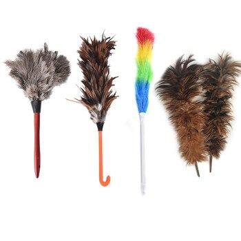 Cepillo de piel de avestruz antiestático con mango de madera, herramienta de...
