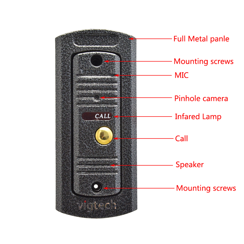 Vigtech7`` video intercom video doorphone speakerphone intercom system white monitor outdoor with waterproof & IR camera