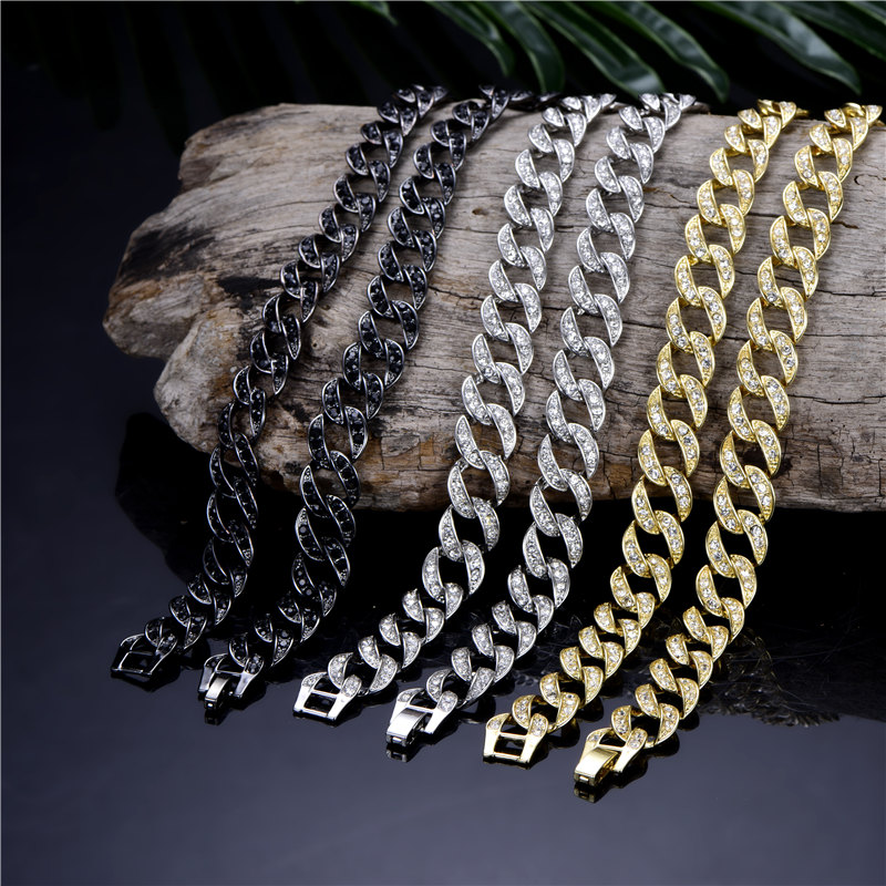 Iced Out Rhinestone Cuban Chain Necklace For Men Gold Silver Hip Hop Paved CZ Rapper Jewelry accessories gift