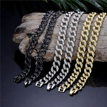 купить Iced Out Rhinestone Cuban Chain Necklace For Men Gold Silver Hip Hop Iced Out Paved CZ Rapper Necklace Jewelry accessories gift дешево