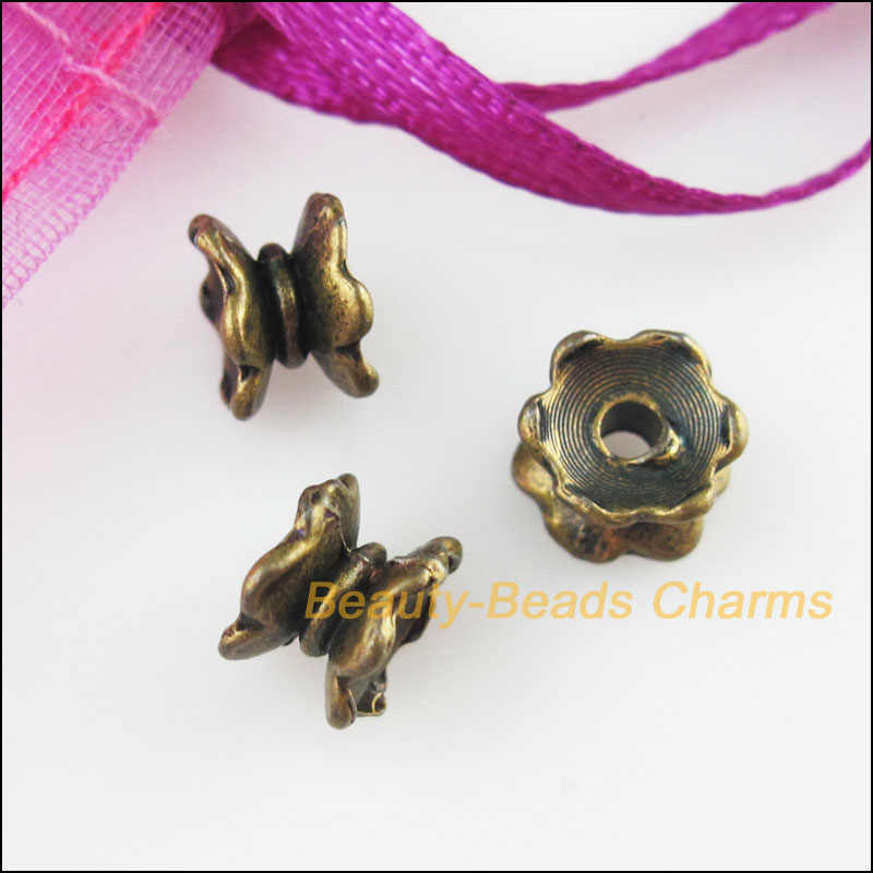 Nuovo 50Pcs Anticato Color Bronzo di Loto Fiore Fine Bead Caps Connettori 5x7mm