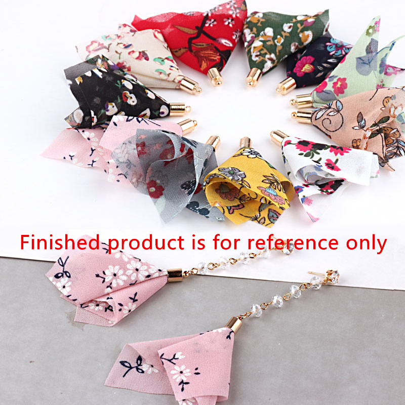 Wholesale 50PCs Flowers Printing Chiffon Fabric Tassel Charms Craft Fit Girls Summer Earring Ornaments Making DIY Floating Charm