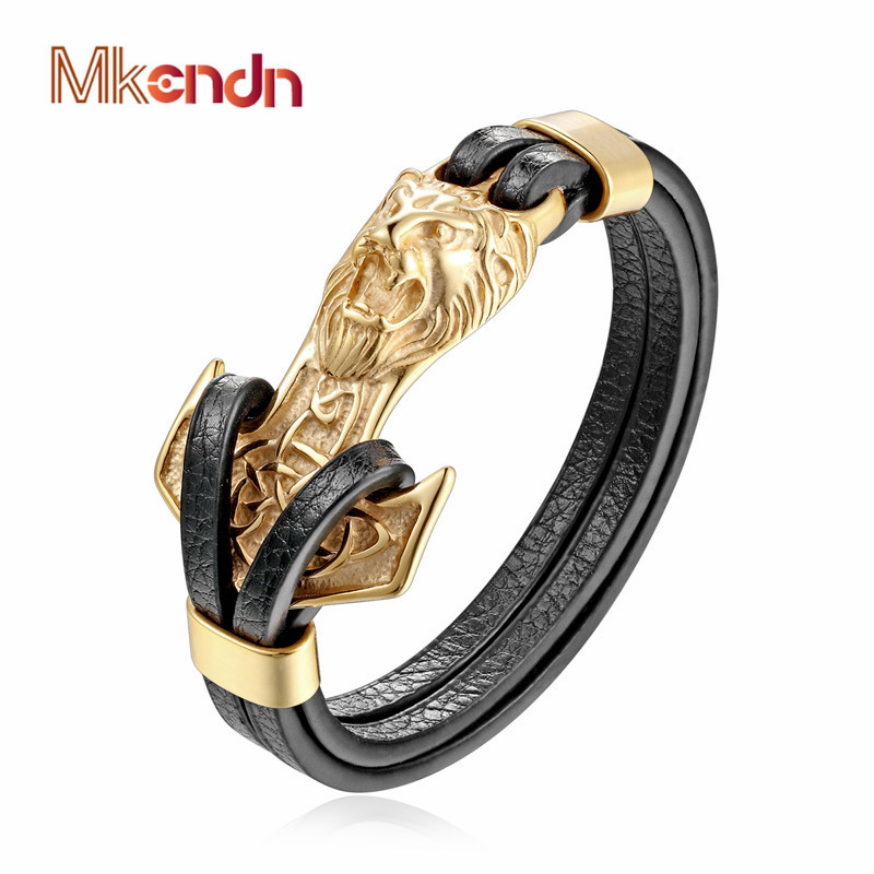 MKENDN New Mens Bracelets Gold Leo Lion Stainless Steel Anchor Shackles Black