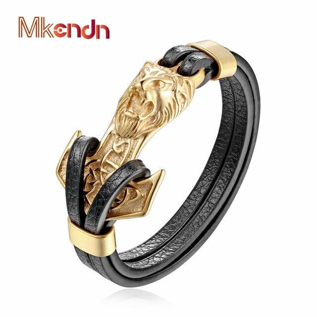 26758d13441d MKENDN новый для мужчин s браслеты золото Leo Лев нержавеющая сталь якорь  сережки черный кожаный мужские
