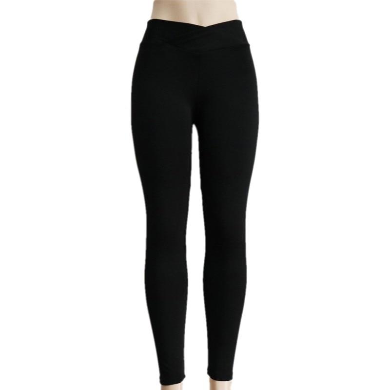 Sexy cross waist Push Up Fitness Leggins   Leggings   Women Pants High Waist movement   Leggings   black gray Hip seam design crease