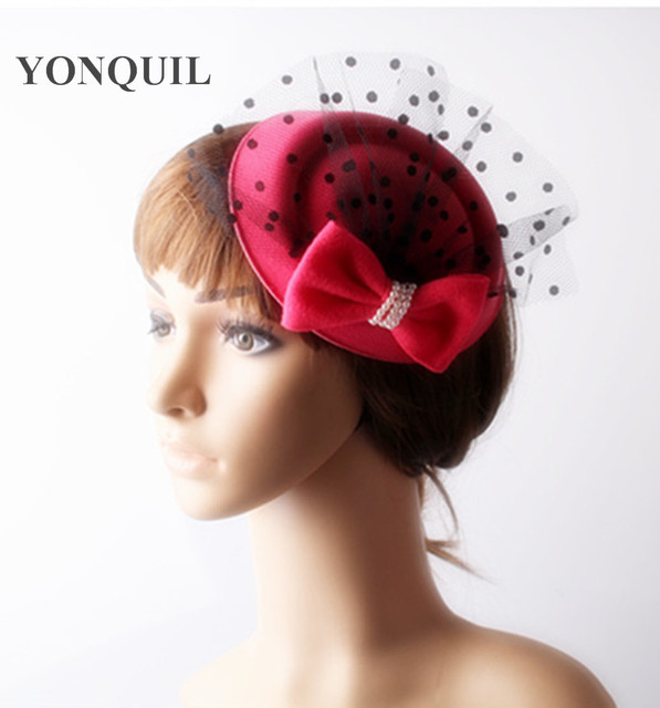 2017 Watermelon red fascinators top hats bow accessories vogue hair clips wedding  hats with dot mesh decor for party cocktail e27c622f075