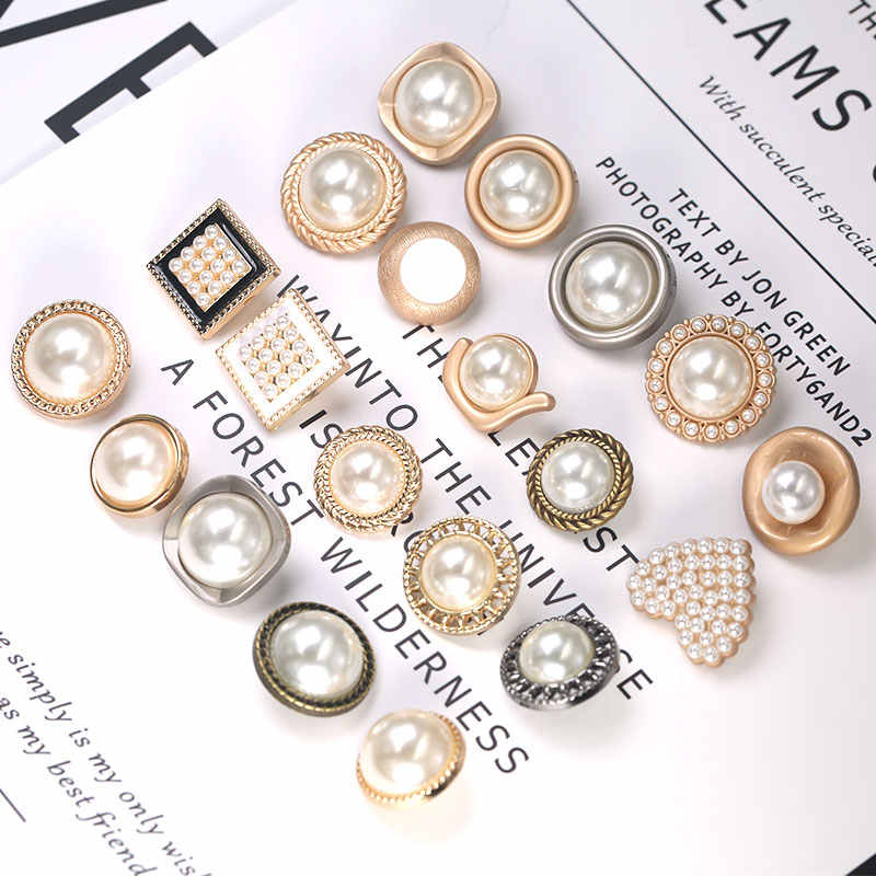Pearl Gold Metal Buttons for Clothing Sewing Button Decorative Clothes Women Coat Sew on Botones Accessories Garment DIY