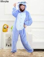 Onesies Women Men Blue Stitch Unisex Flannel Pajamas Cosplay Cartoon Animal Party Halloween Sleepwear Pijama Pyjama