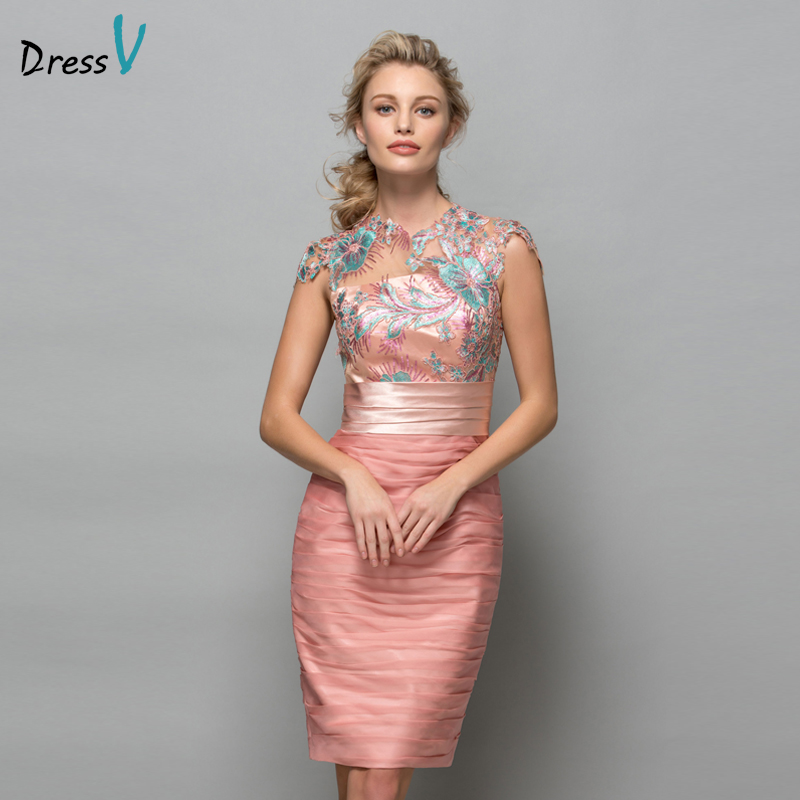 Dressv Pearl Pink Chiffon Short Cocktail Dresses 2019 Sequins Lace Knee Length Women Prom Dress Designer Formal Holiday Gown