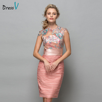 Dressv Pearl Pink Chiffon Short Cocktail Dresses 2017 Sequins Lace Knee Length Women Prom Dress Designer Formal Holiday Gown