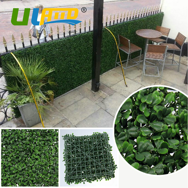 ULAND Privacy Fence Garden Wall Balcony Decoration Artificial Boxwood Hedge Faux Plant Grass Greenery Panel Mat 6 pcs 50x50cm uland 6pcs 50cm 50cm artificial photinia hedge bicolor boxwood mat g0602a016 st3
