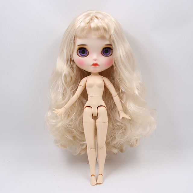 Blyth Doll 1/6 Joint Body hand painted matte face white skin golden curls hair suit 30cm DIY BJD SD toys gift