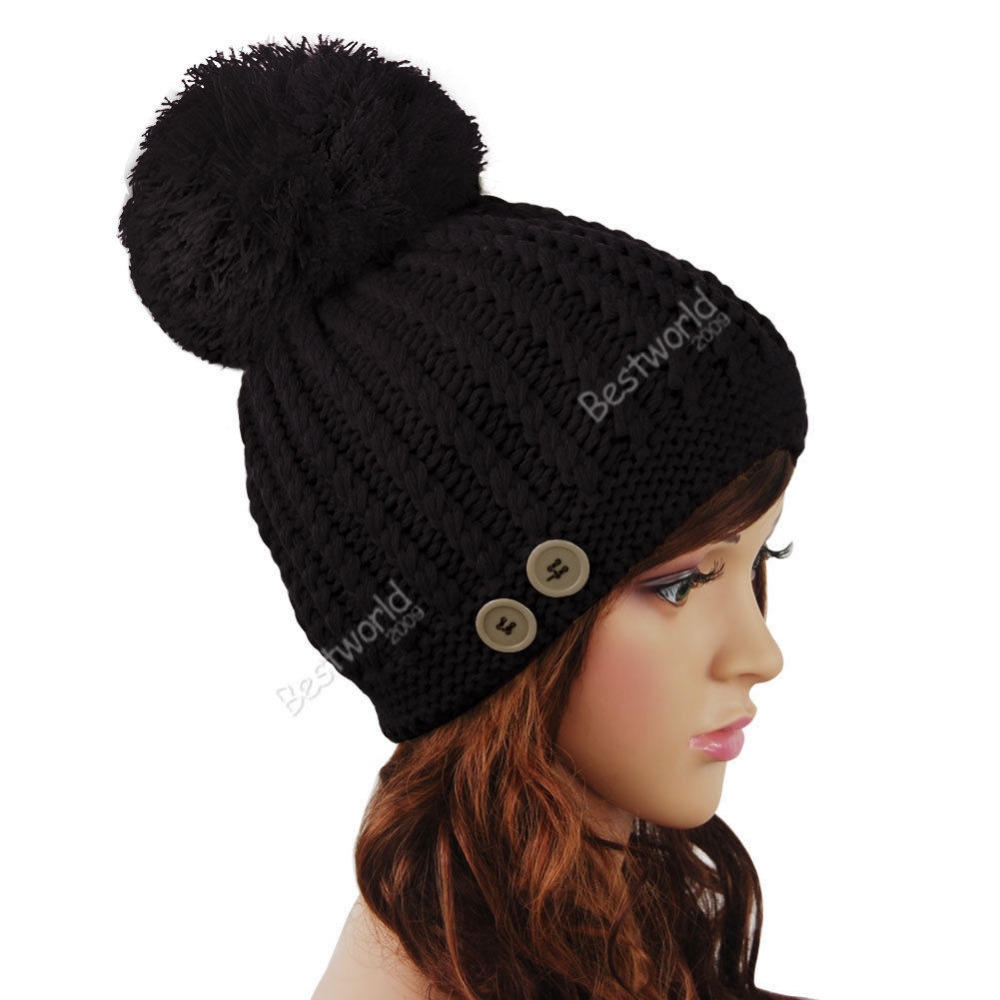 Fashion Winter Style New Ladies Womens Girls Warm Chunky Knitted Button Bobble Hat Beanie for ladies 8 Colors a2