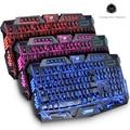 Inglés Rojo/Púrpura/Azul M200 Teclado Gaming Profesional USB Con Cable de Retroiluminación LED Potencia N-key Completo Juego Periféricos informáticos