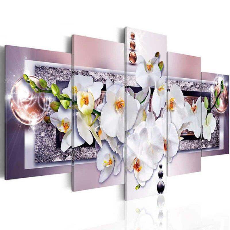 """Zhui Stern 5D DIY Vollquadrat Diamant malerei """"orchidee blume"""" bild Kombination Stickerei Kreuzstich Mosaik Decor-in Diamantkreuzstichstickerei aus Heim und Garten bei  Gruppe 1"""