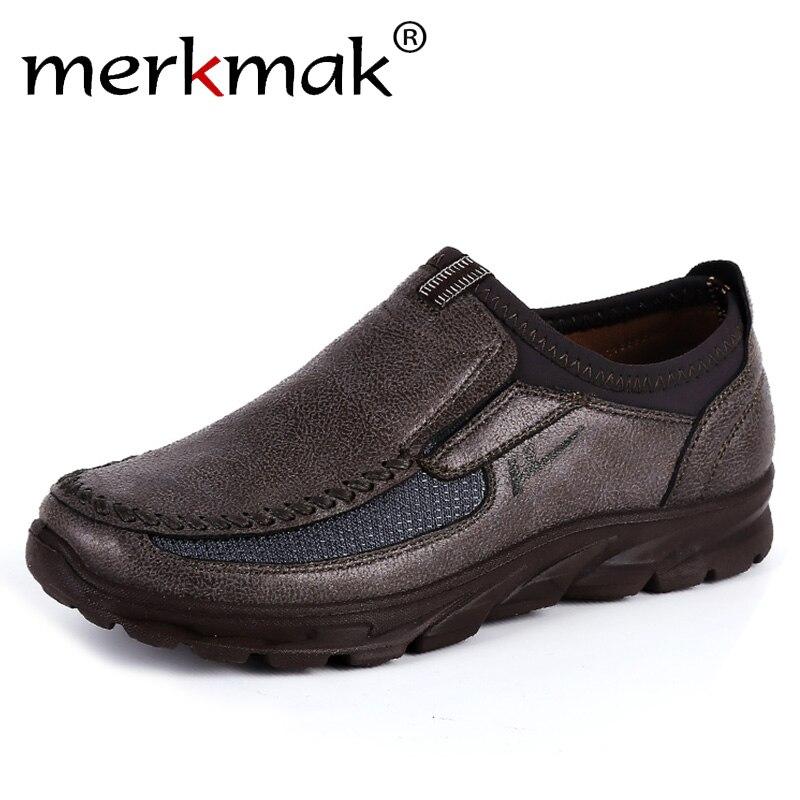 Merkmak zapatos de imitación de gamuza 2019 Breathble solo calzado antideslizante en suela gruesa mocasines de hombre al aire libre zapatillas antideslizante zapatos