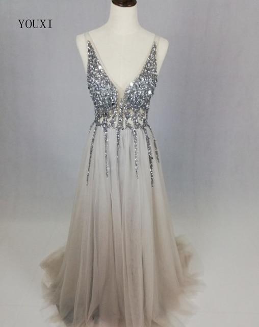 Robe de Soiree Longue New Arrivals Real Image Sexy V-Neck High Side Split  Evening Dress 2018 Abendkleider Formal Prom Long