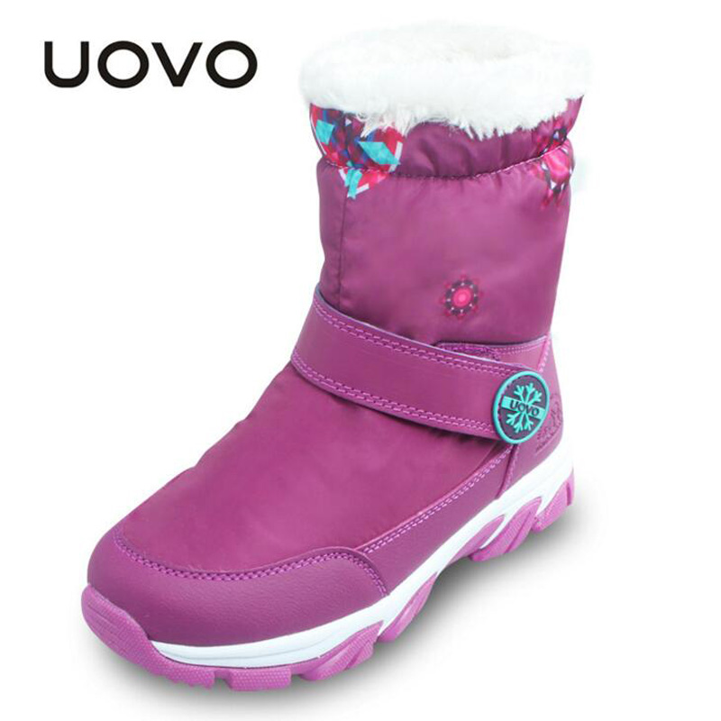 2018 New UOVO brand shoes kids winter snow boots boys girls Plus velvet warm boots high quality children fashion cotton sneakers babyfeet 2017 winter fashion warm plush high top genuine cow leather children ankle girls snow boots kids boys shoes sneakers