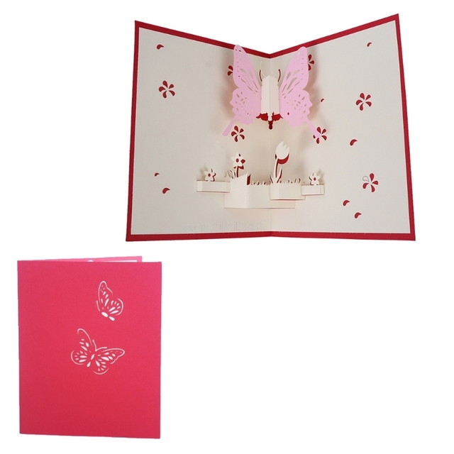 3d pop up papier d coup carte de voeux carte postale papillon d 39 anniversaire invitation - Carte de voeux pop up ...