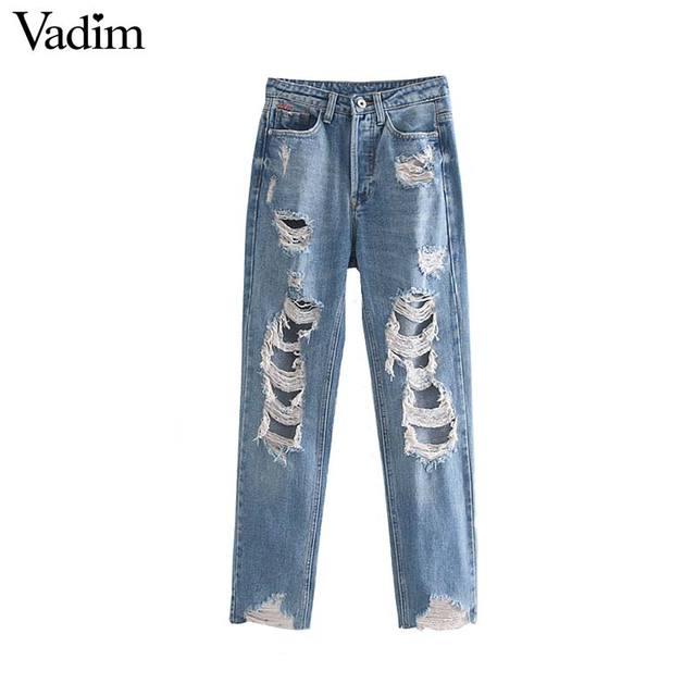 Vadim נשים בציר ג 'ינס ג' ינס כפתורים לטוס כיסי חורים נקבה מקרית קרסול אורך מכנסיים רטרו קיץ pantalones KB017