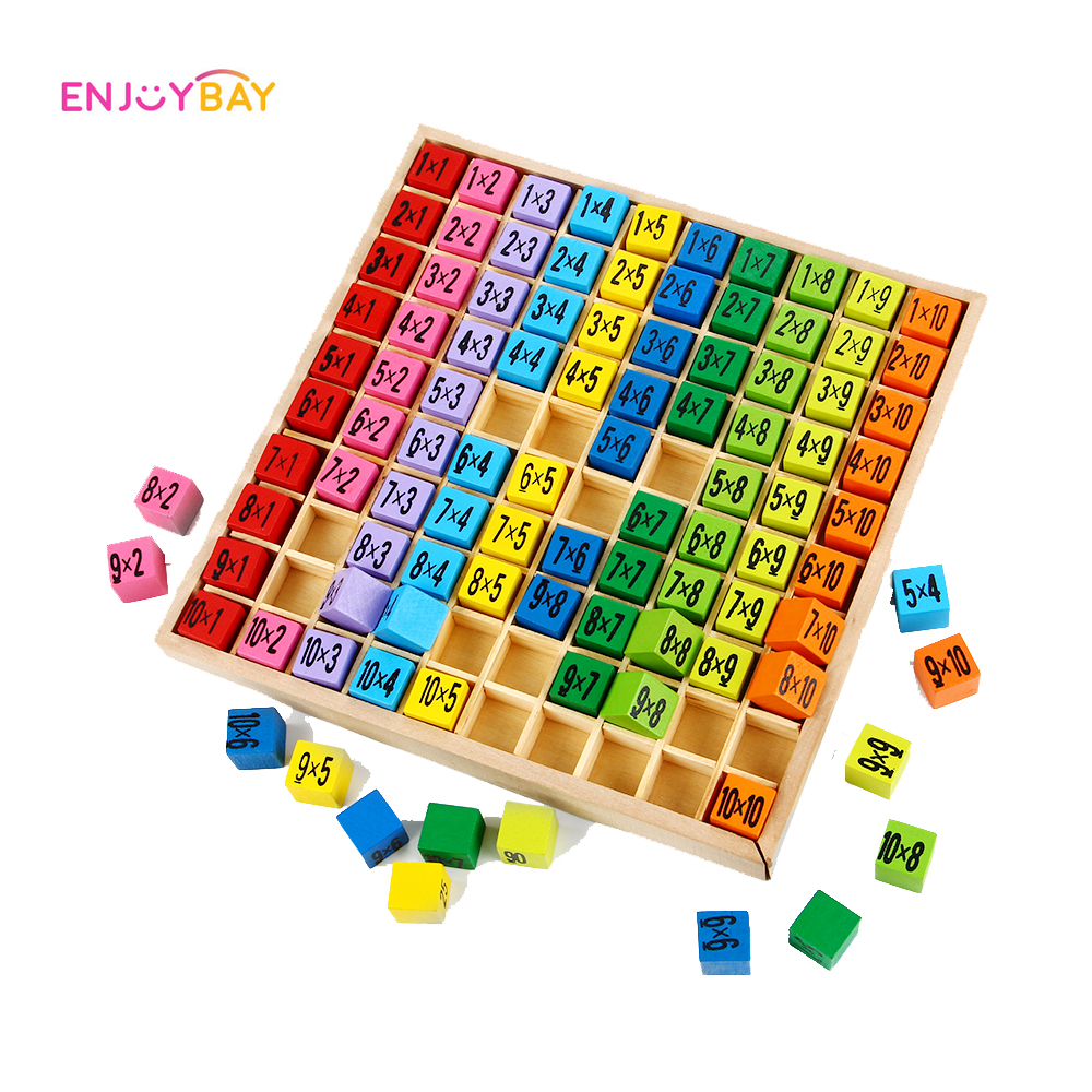 Enjoybay Multiplication Table Math Toy 10x10 Double Side Pattern Printed Board Colorful Wooden Figure Block Kids Educational Toy