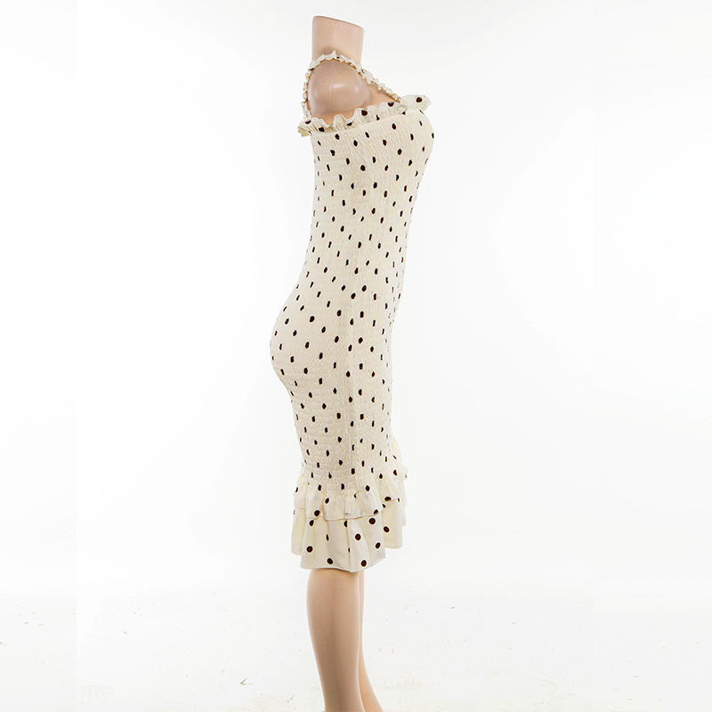 Cryptographic Beige Dot Print Fashion Sleeveless Summer Dress Ruffles Strapless Sundress Sexy Long Dresses Streetwear Holiday 6