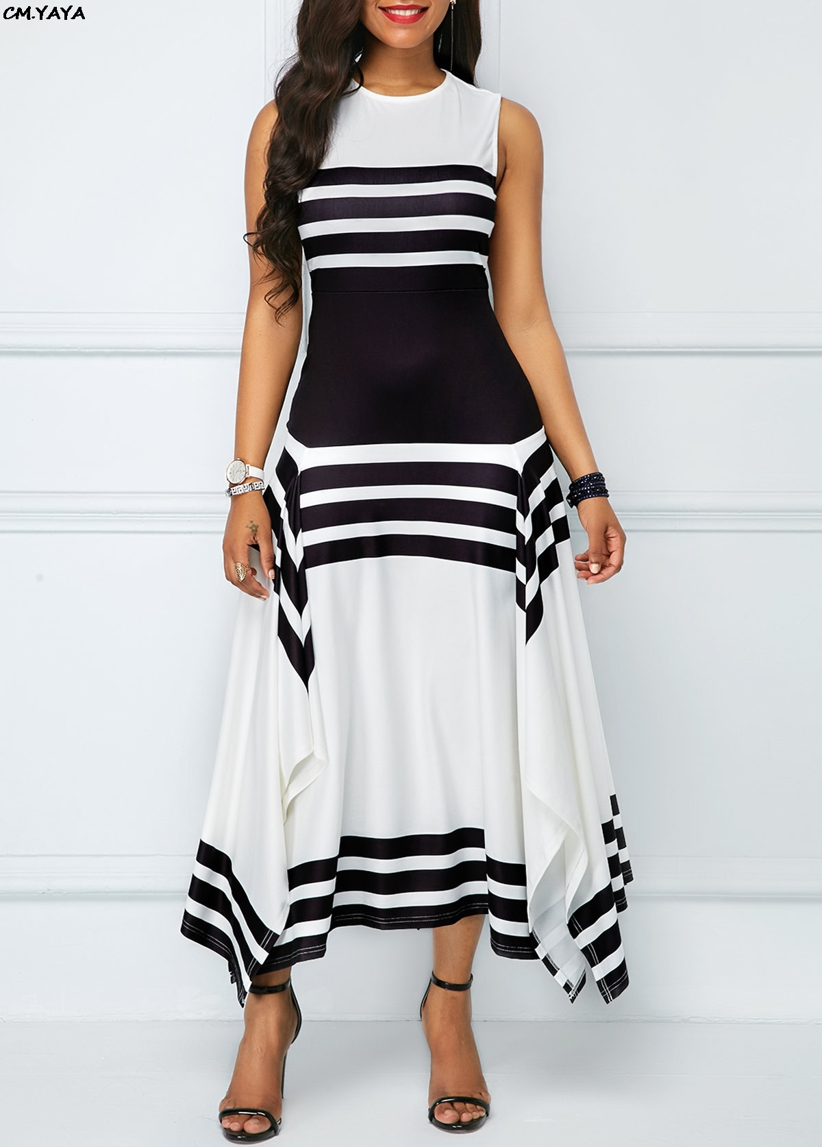 Buy black white striped maxi dress and get free shipping on AliExpress.com 507d014ffcea