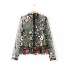 Sexy Mesh Flower Embroidery Tops Women Blouses 2017 Woman Shirt Black Summer Tops Womens See through