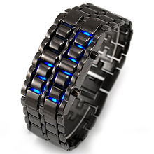 2018 New Fashion Men Electronic Watches Led Digital Watches Lava Iron Samurai Metal LED Faceless Bracelet Watch Wristwatch