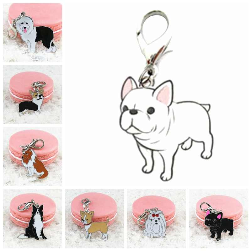 German Shepherd Dog Cute French Bulldog Keychain Key Rings Pet Identity Tag ID Card hanging accessory collar Mini Pet Pendant