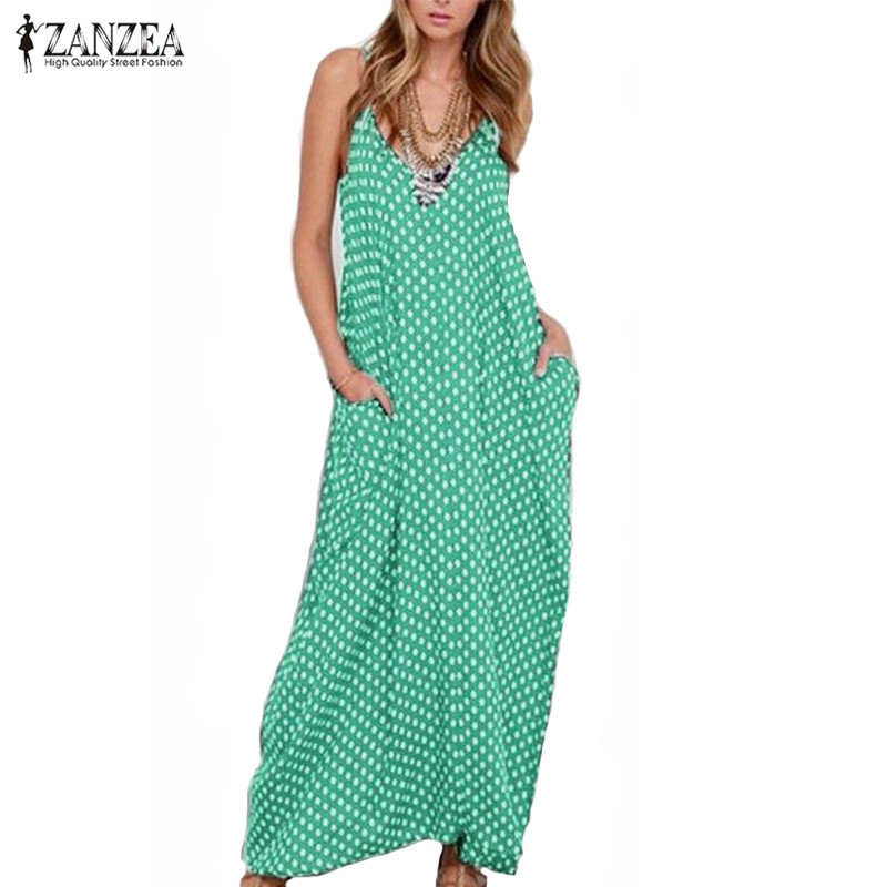 6XL Plus Size Summer Dress 2018 ZANZEA Women Polka Dot Print V Neck Sleeveless Sundress Loose Maxi Long Beach Boho Vintage Dress 3