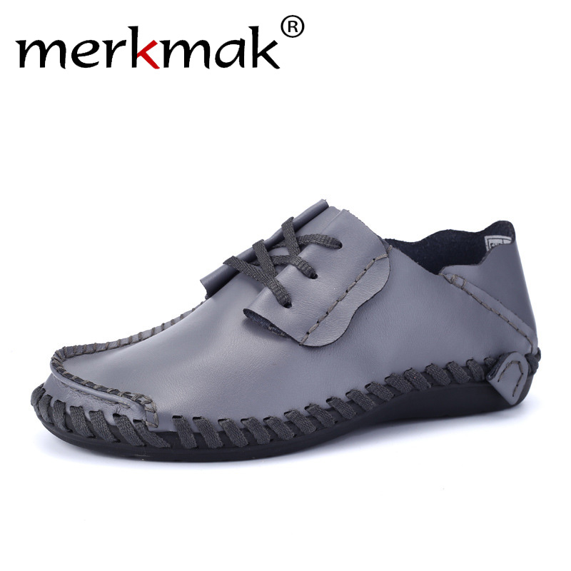 Merkmak Genuine Leather Men Shoes Boat Shoes for Men 2017 New Mens Loafers Shoes Casual Fashion Mens Falts Large Size 38-47 mens s casual shoes genuine leather mens loafers for men comfort spring autumn 2017 new fashion man flat shoe breathable