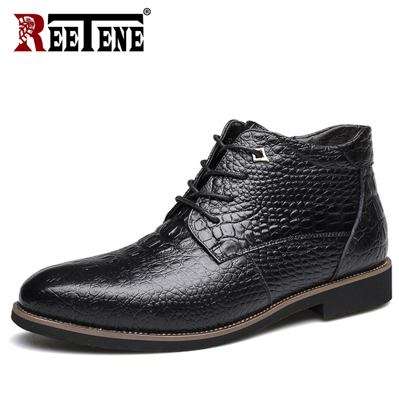 REETENE Men Boots Genuine Leather Winter Men S Boots Fashion High Cut Lace Up Warm Hombre