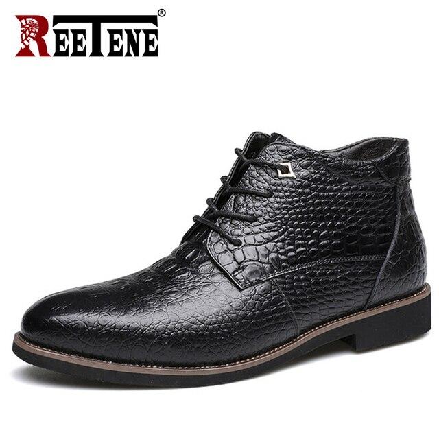 REETENE Men Boots Genuine Leather Winter Men'S Boots Fashion High-Cut Lace-Up Warm Hombre Autumn Winter Fashion Men Boots 38-46
