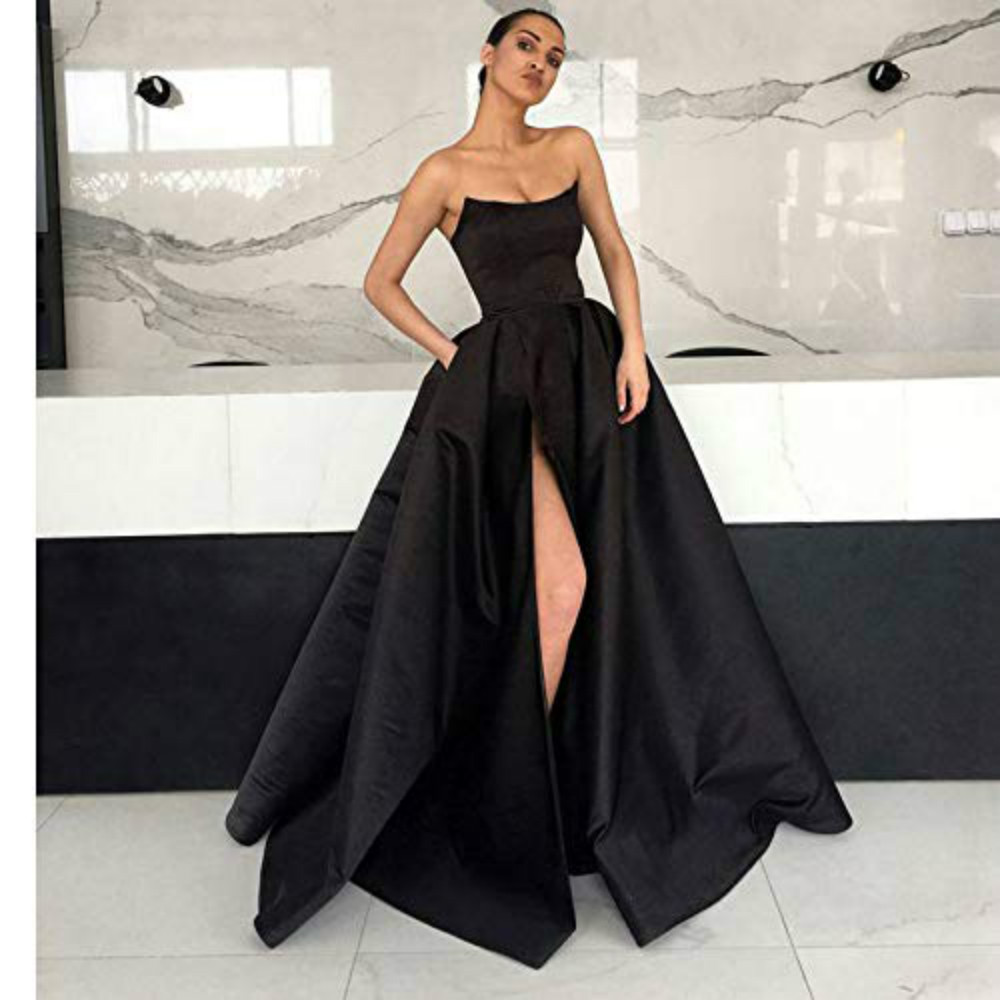 Boat Neck Satin Black Long   Prom     Dresses   2019 High Side Split Formal Evening Gowns Sweep Train Celebrity Pageant Party   Dress   Ball