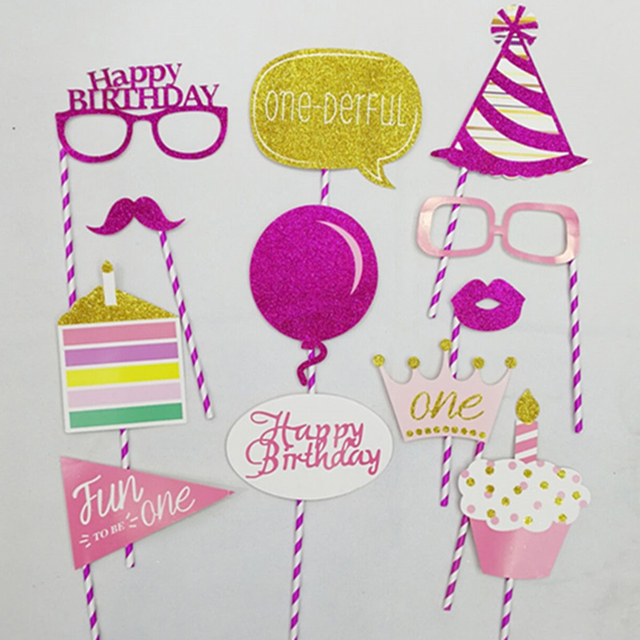 18 Piecesset Baby Party Photo Booth Props Kids Happy Birthday Party
