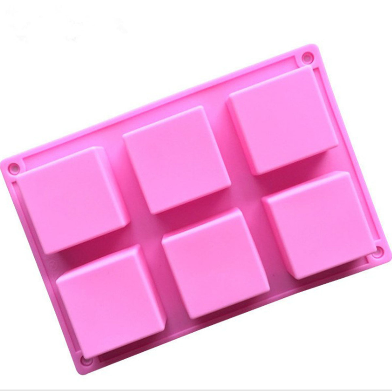 Handmade 6 Holes Lovely Square Silicone Soap Mold Soap Crafts Moulds Fondant Cake Baking Cooking Tools Bath Room Supplies