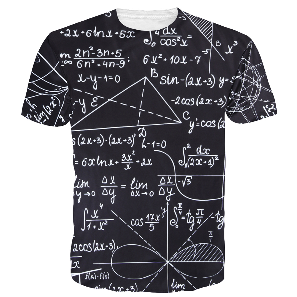 2019 Fashion Summer Style T-shirt Men Mathematical Formula T-shirt Men Cotton All Size Printed Retro Fashion T Shirt Men Tops