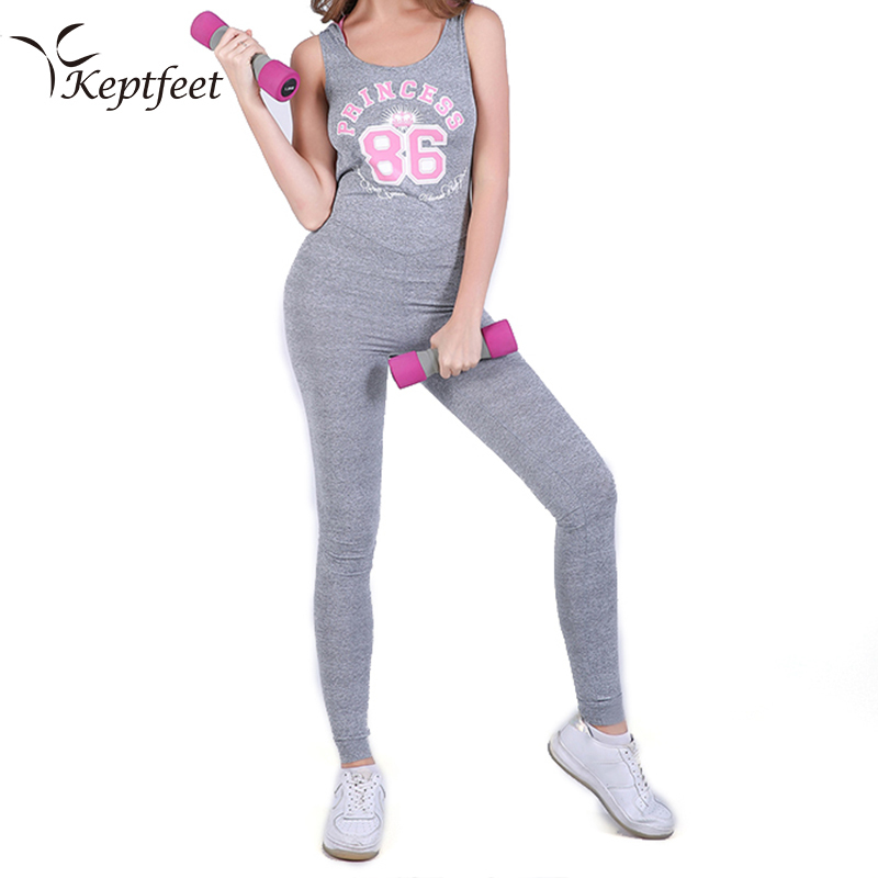 Women Sexy Yoga Jumpsuits Sport Suit Kit Sleeveless Backless Female Gym Clothes Letter Print Running Fitness Workout Set