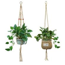 Vintage Macrame Plants Hanger Hook Flower Pot Holder 4 Legs String Hanging Rope Wall Art Home Garden Balcony Decoration