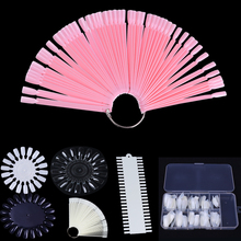 24 Patterns False Nail Tips Color Card Transparent White Natural Buckle Ring Manicure Kit Nail Art Practice Display Tools