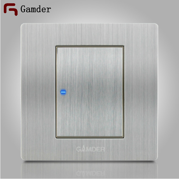 Gamder k9 a reset flat wall light switch led indicator with 304 gamder k9 a reset flat wall light switch led indicator with 304 stainless steel wire drawing aloadofball Choice Image