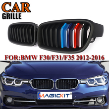 MagicKit Pair F30 Car Styling Grill M3 Style F31 Kidney Black Replacement Grille For BMW F30 F31 2012+ 320i 325i 328i 335i Matte 1 pair f30 car styling front grill style f31 kidney black replacement grille hood for bmw 3 series f30 f31 2012 2016 gloss black