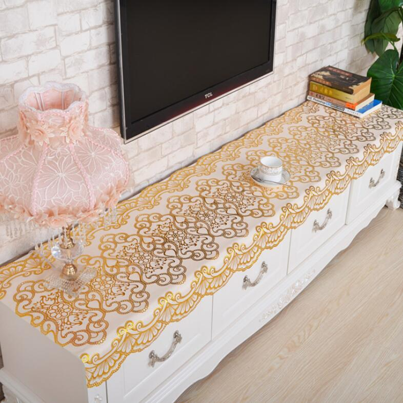 Gilding PVC Tablecloth Waterproof Oilproof Plastic Table Covers TV stand Covers Floral Printed Lace Edge Anti Hot cabinet cloth