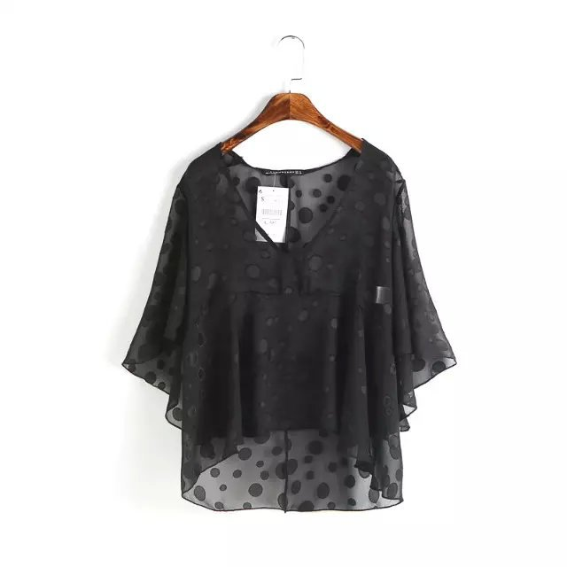 Nice Show School Chiffon Blusa Elegant Women Shirts V-Neck Flare Sleeve Shirt Casual Loose Lady Blouses Black Tops AF0258