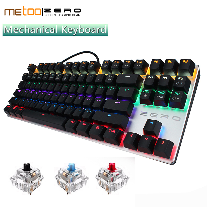 Metoo Mechanical Gaming Keyboard Wired LED Backlit Computer PC 87 Keys Professional Keypad Games For Overwatch DOTA 2 Esport LOL бра lumion corsaro 3052 1w