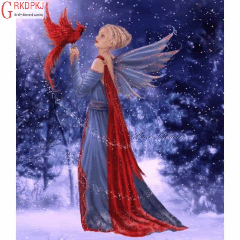Red Bird Snow Scenery Angel 5D DIY Diamond Painting Full Embroidery Inlay Art Fashion Crafts Gift Mural Home Wedding Decoration