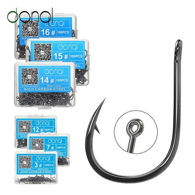 DONQL 50/100pcs High Carbon Steel Fishing Hooks Sea Circle Single Fishhook Carp Fly Fishing Accessories Jip Barbed Hook Set