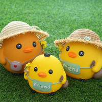 New Doll Chicken Piggy Bank Creative Child Gift Cartoon Grass Hat Chicken Barrier Deposit Money Tank